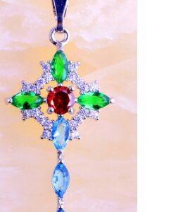 Ametüst,Karneool,Oliviin,kristallidest hõbe kett