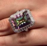 Vikerkaare Topaas sõrmus 925 hõbe nr.11
